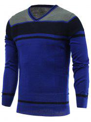 Color Block Splicing V-Neck Long Sleeve Sweater - BLUE