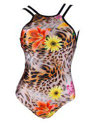 Trendy Floral Pattern Leopard Print Backless Women's Swimwear