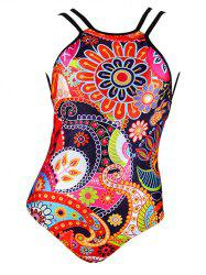 Charming Abstract Floral Print Backless Women's Swimwear - COLORMIX 2XL