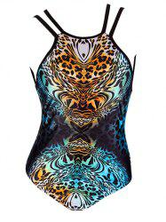 Criss Cross Leopard One Piece Bathing Suit - LEOPARD 2XL