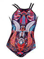 Stylish Ornate Printed Criss Cross Women's Swimwear