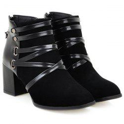 Trendy Suede and Cross-Strap Design Ankle Boots For Women - BLACK
