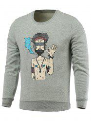 Cartoon Man Print Fleece Round Neck Long Sleeve Sweatshirt -