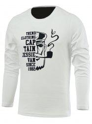 Letter and Old Man Print Long Sleeve Round Neck T-Shirt -