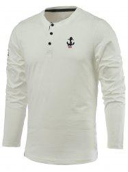 Letter Anchor Embroidery Long Sleeve Round Neck Henley-Shirt -