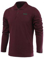 Applique Long Sleeve Turn-Down Collar Polo T-Shirt