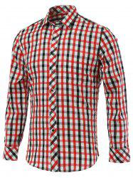 Color Block Gingham Turn-Down Collar Long Sleeve Shirt -