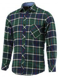 Plaid Pocket Embellished Turn-Down Collar Long Sleeve Shirt -