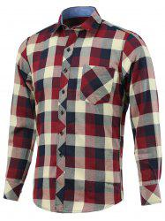 Color Block Checked Pockets Design Turn-Down Collar Long Sleeve Shirt -