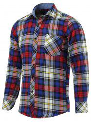 Color Block Checked Pockets Turn-Down Collar Long Sleeve Shirt -