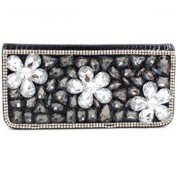 Stylish Flower and Rhinestone Design Women's Evening Bag -