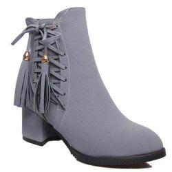 Chic Criss-Cross and Tassels Design Short Boots For Women - GRAY