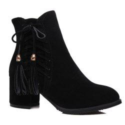 Chic Criss-Cross and Tassels Design Short Boots For Women