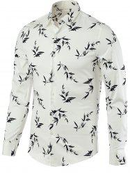 Leaves Print Print Spliced Turn-Down Collar Long Sleeve Shirt -