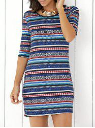 Bohemian Half Sleeve Scoop Neck Ethnic Print Stripe Bodycon Dress