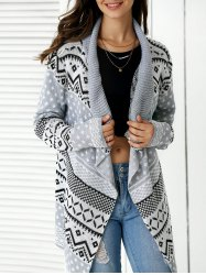 Stylish Geometric Pattern Asymmetrical Cardigan For Women - GRAY