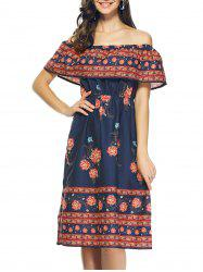 Bohemian Off The Shoulder Tribal Print Capelet Dress