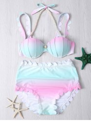 Gradient Color Scalloped Edge Bikini Set -