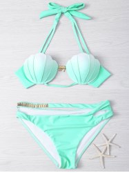 Halter Gradient Color Hollow Out Women's Bikini Set