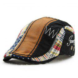 Patchwork motif de broderie Outdoor Sunscreen Cabbie Hat For Men - Noir