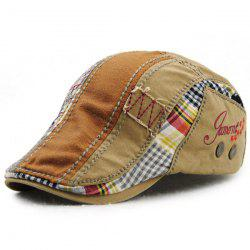 Patchwork Pattern Embroidery Outdoor Sunscreen Cabbie Hat For Men - LIGHT KHAKI