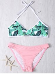 Halter Leaves Print Women's Bikini Set