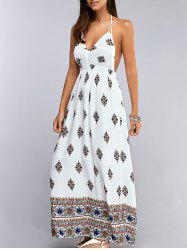 Chiffon Backless Halter Long Print Beach Casual Maxi Dress