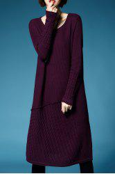Knee Length A Line Sweater Dress -