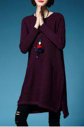 A Line Mini Sweater Dress - PURPLISH RED