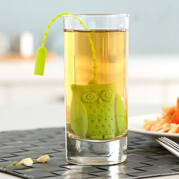 High Quality Food Grade Silicone Cute Owl Filter Diffuser Tea StrainerHOME<br><br>Color: GREEN; Type: Colanders &amp; Strainers; Material: Silicone; Size(CM): 5.5*4.1*3? Rope Length  14.5cm?; Weight: 0.031kg; Package Contents: 1 x Tea Strainer;