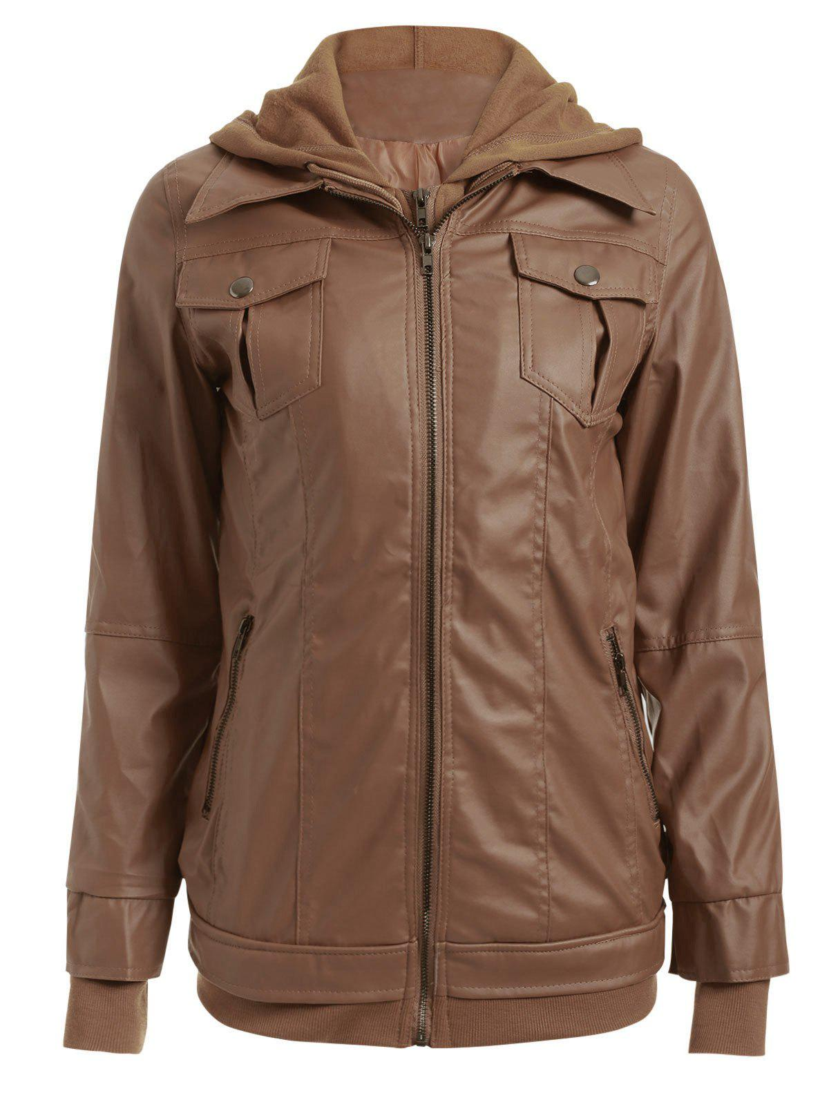 Fancy Flap Pockets Hooded Faux Leather Jacket