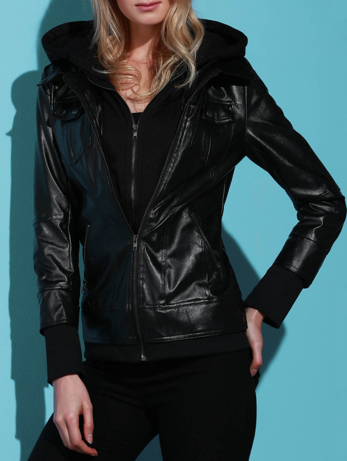 Fashion Flap Pockets Hooded Faux Leather Jacket