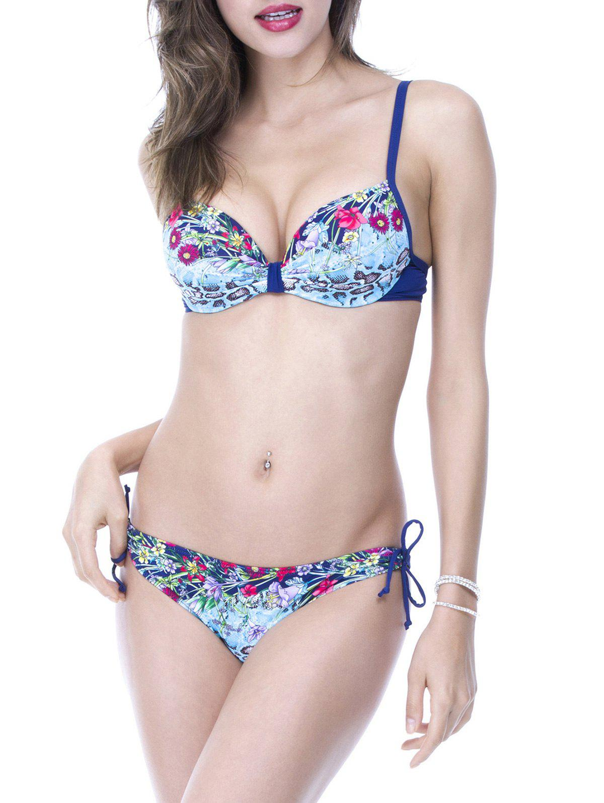 Sale Trendy Spaghetti Strap Floral Print Push Up Women's Bikini Set