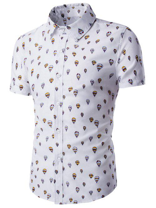 Outfits Fire Balloon Printing Fitted Shirt Collar Short Sleeves Shirt For Men