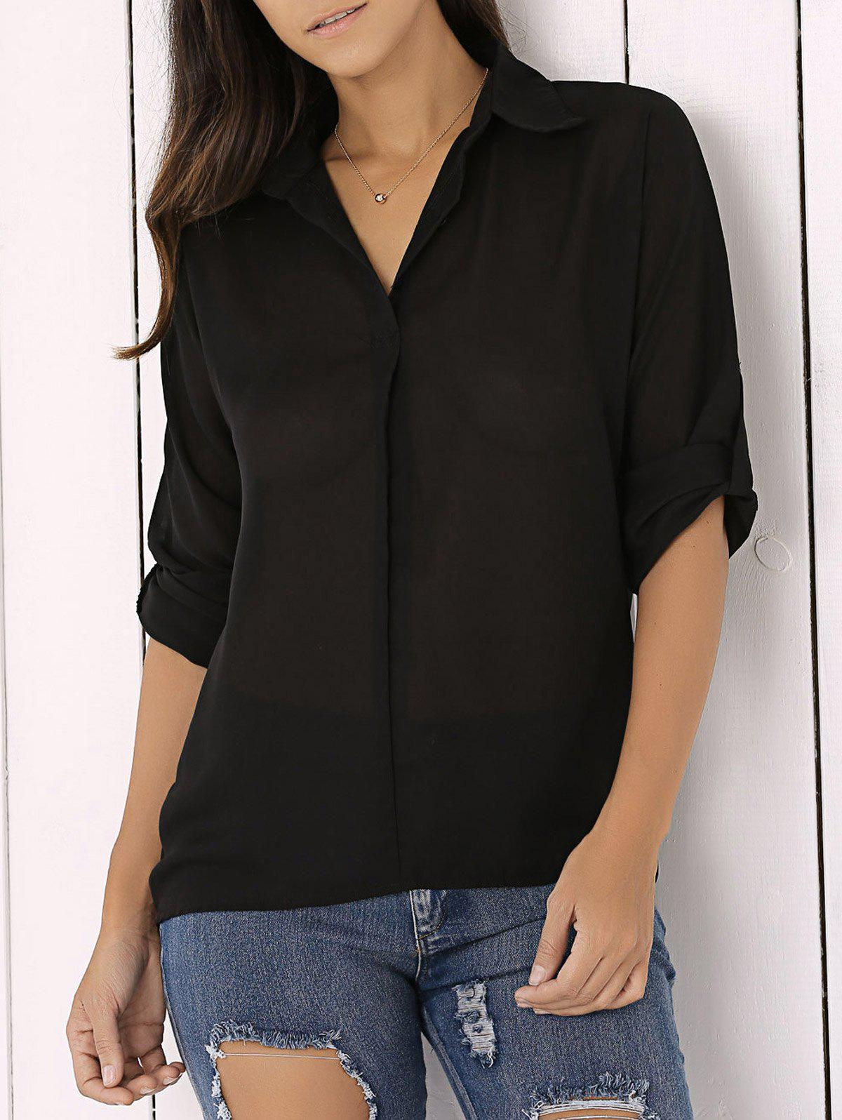 Long Sleeve Chiffon Button Up Casual Tunic ShirtWOMEN<br><br>Size: 2XL; Color: BLACK; Style: Casual; Material: Polyester; Fabric Type: Chiffon; Shirt Length: Long; Sleeve Length: Full; Collar: Shirt Collar; Pattern Type: Solid; Season: Fall,Spring,Summer,Winter; Weight: 0.161kg; Package Contents: 1 x Shirt;