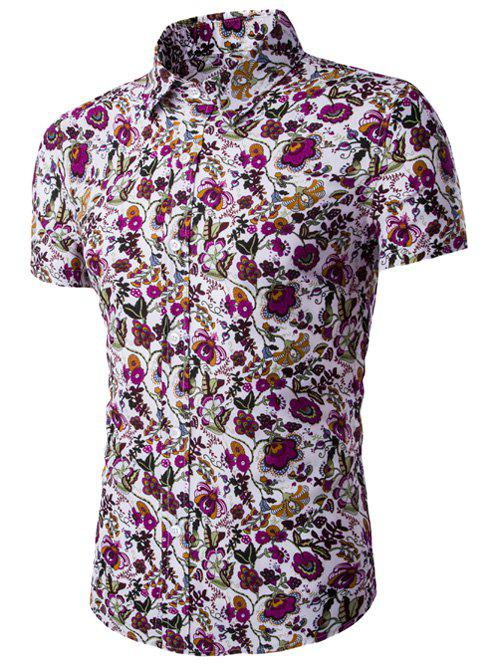 Sale Flower Print Shirt Collar Short Sleeves Shirt For Men
