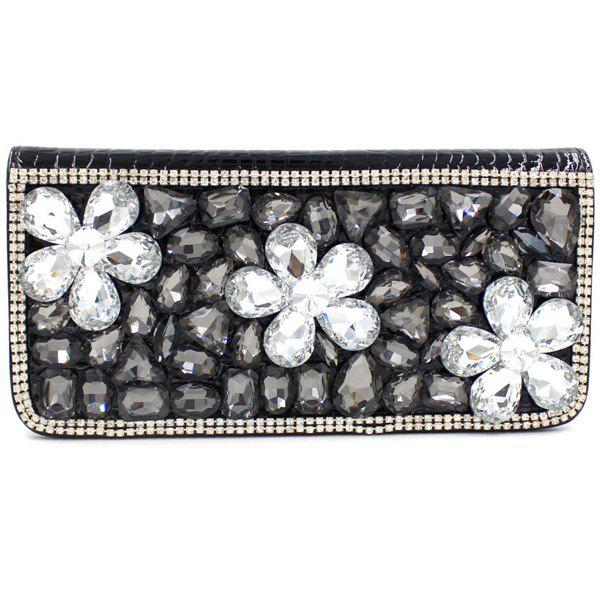 Store Stylish Flower and Rhinestone Design Women's Evening Bag