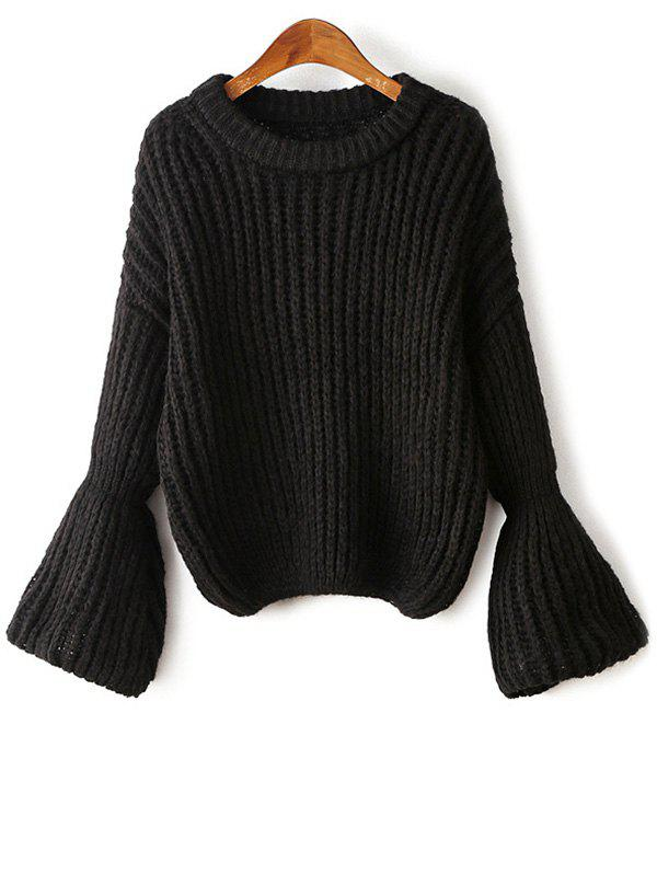 Latest Round Neck Bell Sleeve Chunky Sweater