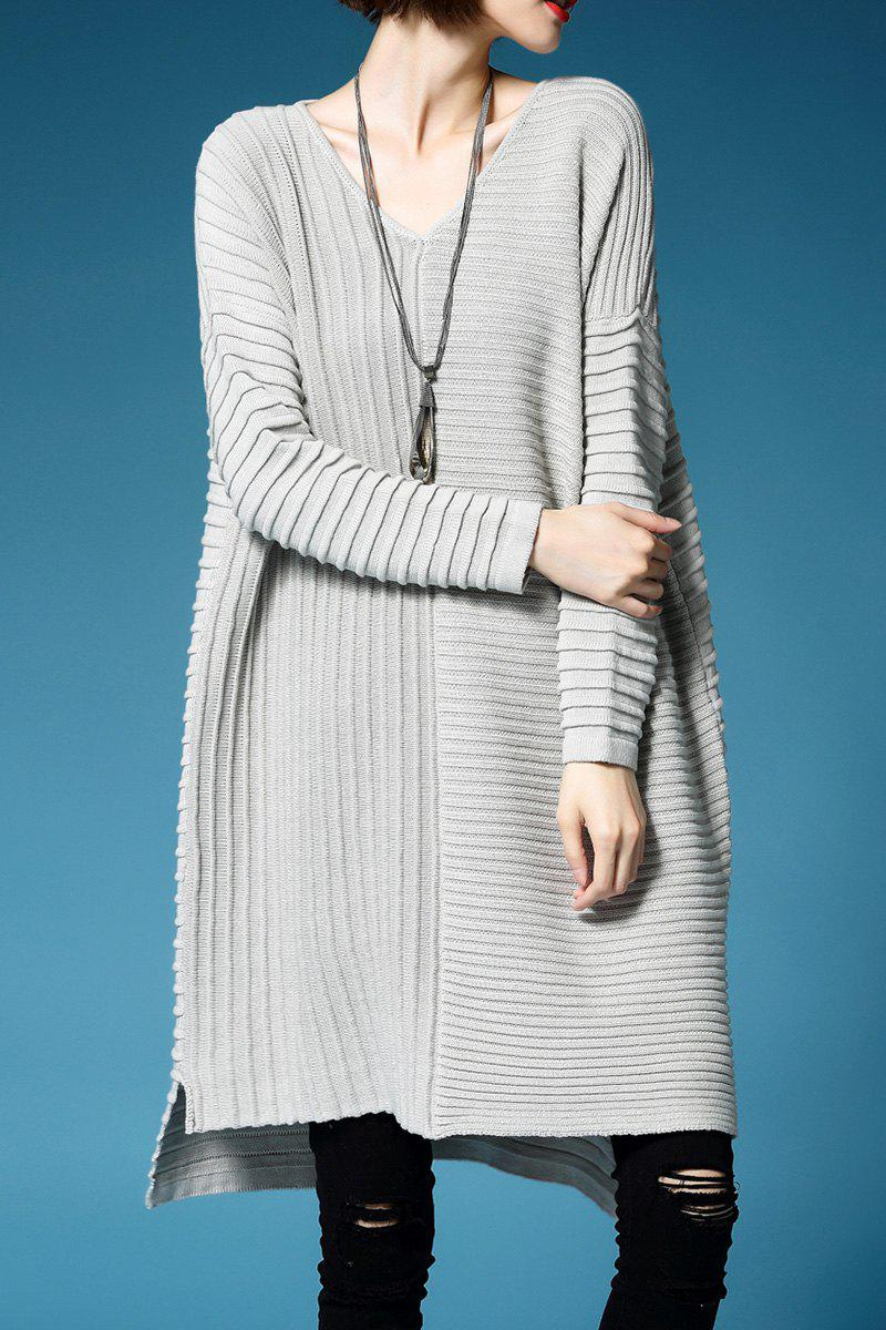 Latest V Neck Ruched Oversized Sweater Dress