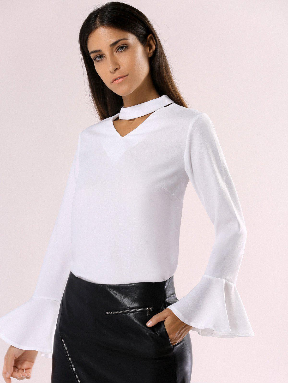 Affordable Elegant Cut Out Choke Collar Bell Sleeve Pure Color Chiffon Blouse