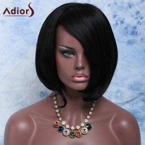Natural Black Stunning Short Straight Side Parting Synthetic Wig For Women