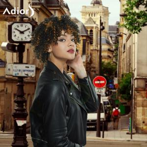 Adiors Short Full Bang Colormix Afro Curly Synthetic Wig