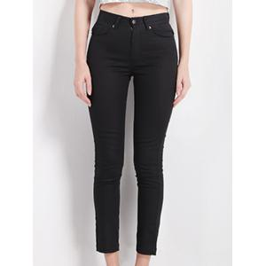 Slimming High Waist Black Pencil Pants - Black - M