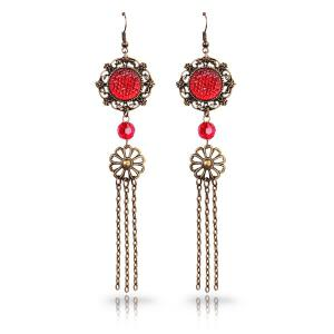 Retro Style Cut Out Faux Crystal Medallion Longline Tassel Earrings - Red - One Size