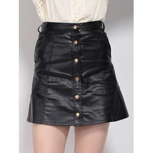 High Waist Buttoned Leather Skirt