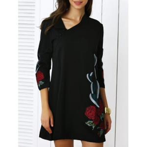 Trendy Slant Collar Hand-Embroidered Floral Dress