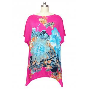 Loose Flower Printed Bat Sleeve T-Shirt - Rose Madder - One Size