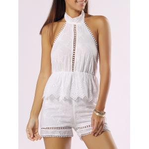 Halter Backless Cut Out Ruffle Romper - White - S