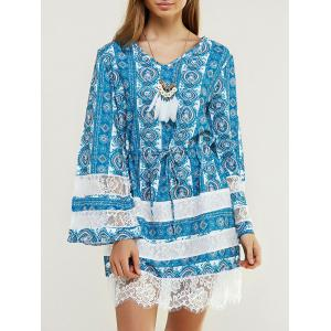 Chic Long Sleeve Printed Dress - Water Blue - S