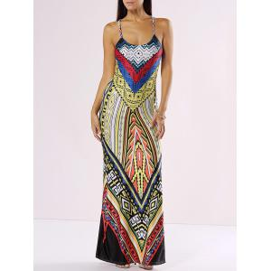 Chic Spaghetti Strap Cut Out Print Maxi Dress - Yellow - S